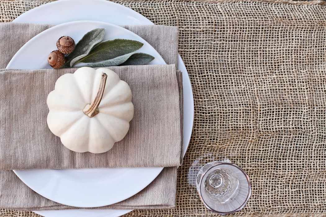 Fall tabletop place setting in neutral colours