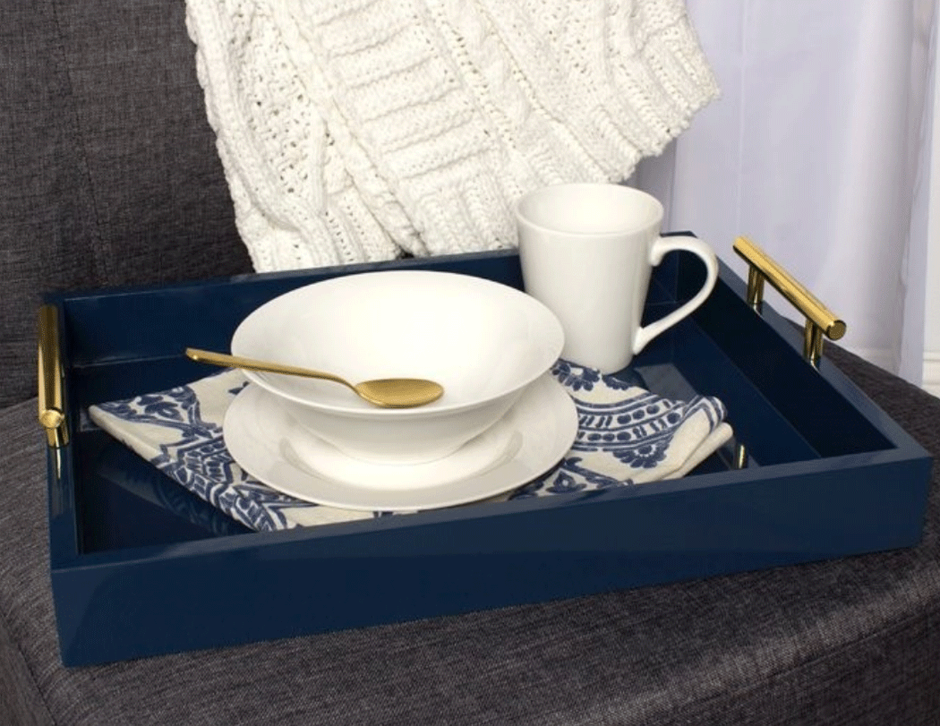 Blue serving tray with white dishes