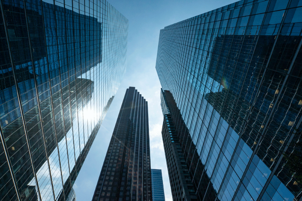 Three tall skyscrapers from street-view in the Bay Street Corridor