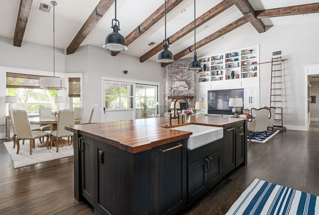 Kitchen with longshot to Living Room and Dining Table Rustic