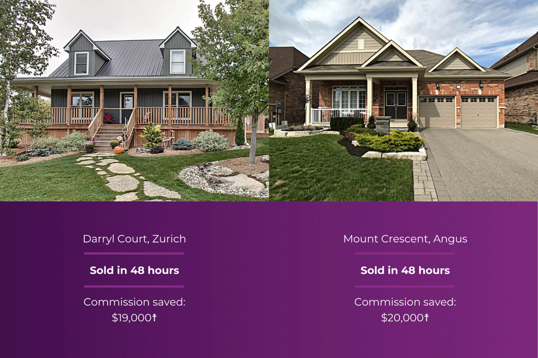 Zurich home, sold in 48 hours, saved $19,000 in commission. Angus home, sold in 48 hours, saved $20,000 in commission.