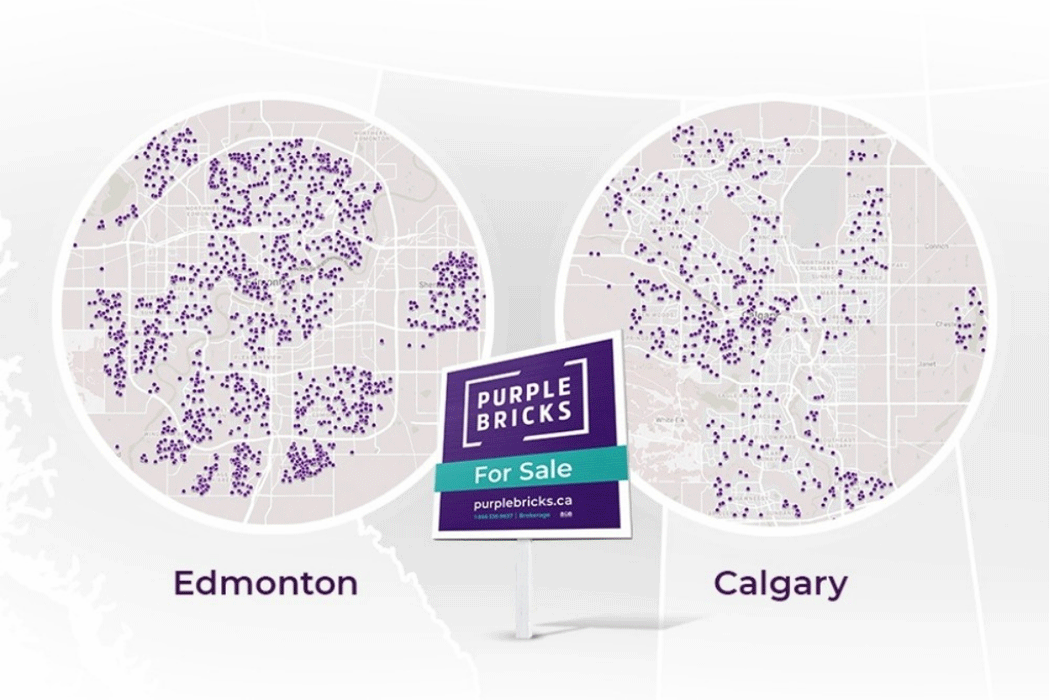 Map of Alberta with callouts showing detail for Edmonton and Calgary, with purple 'pins' indicating real estate listings