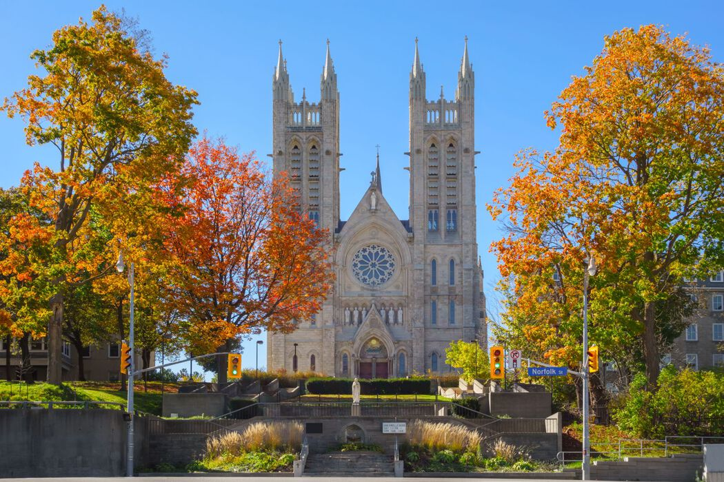 City of Guelph streetview of a church in autumn