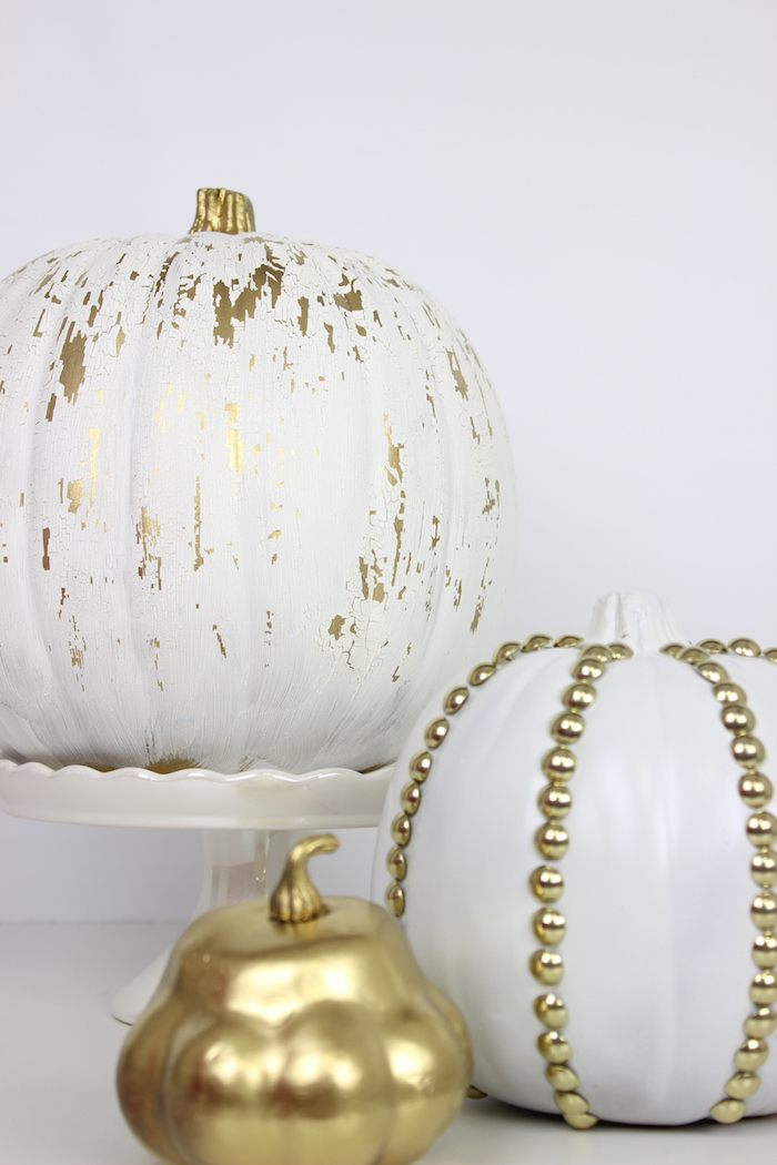 crackled and studded white pumpkins