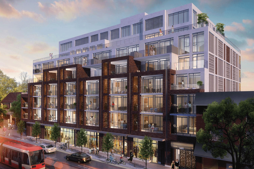 Developer's rendering of a large Leslieville condo building