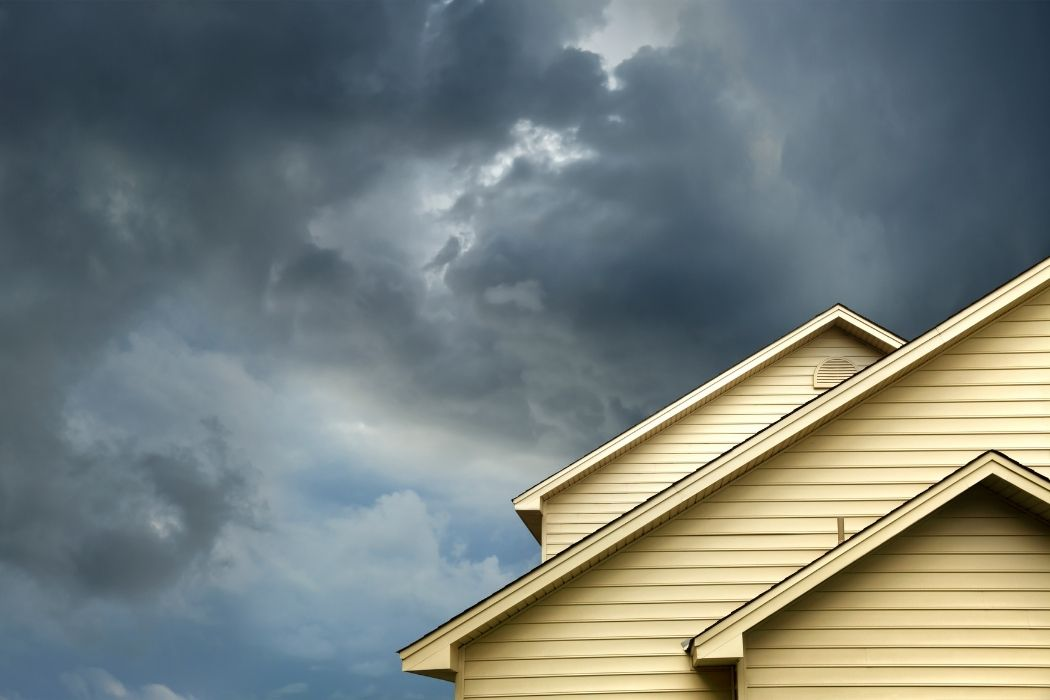 Stormy skies above a house