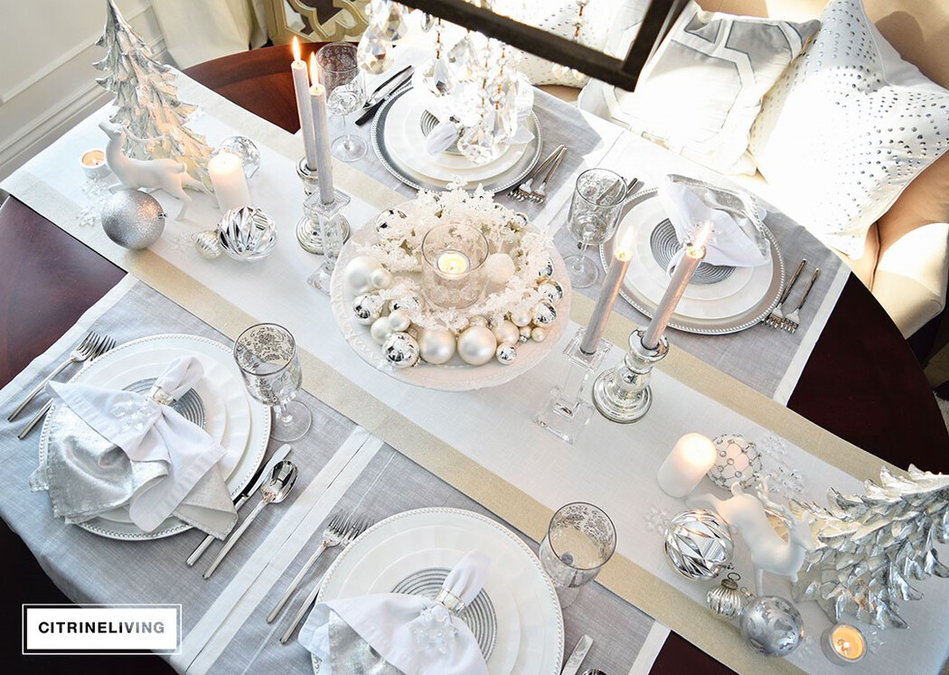 White Christmas tablescape with silver details