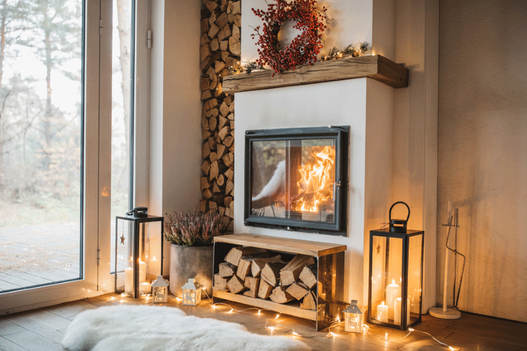 Warm fireplace with stacked wood and LED lights to make your home sale cozy