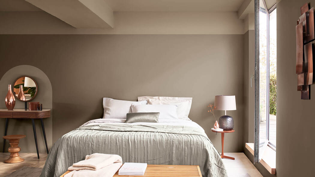 Bedroom painted in Dulux's Colour of the Year,