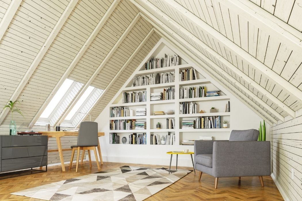 Cool attic office space painted all in white