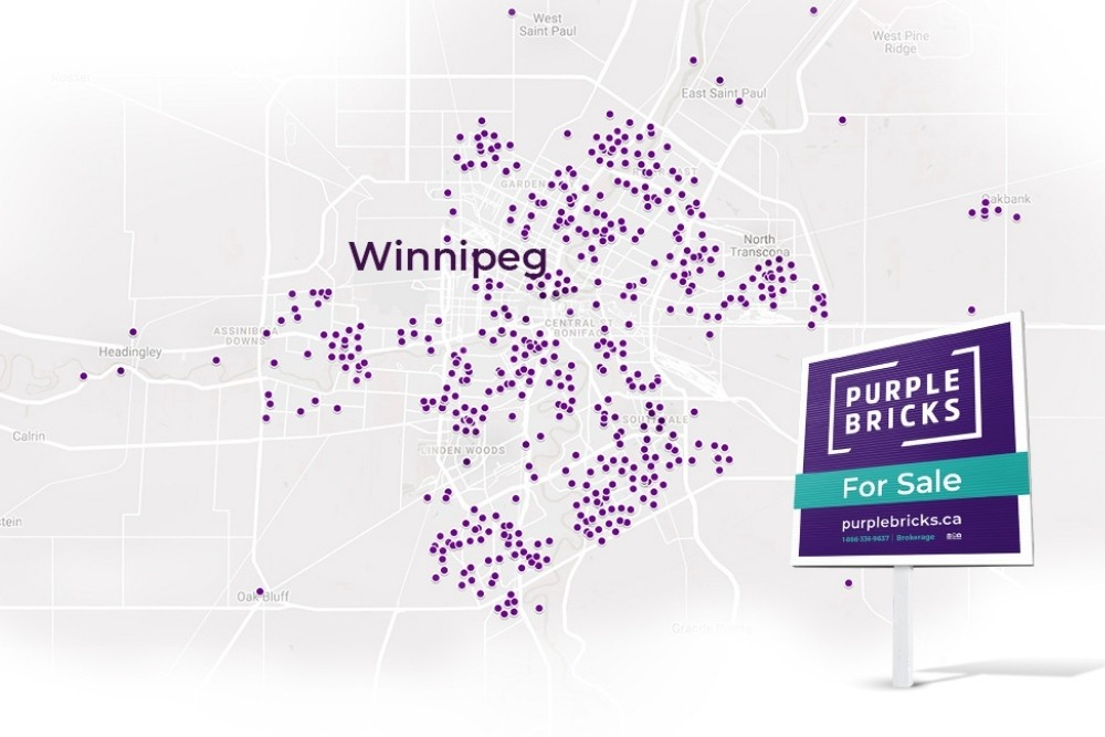 Map of Manitoba with purple 'pins' indicating real estate listings