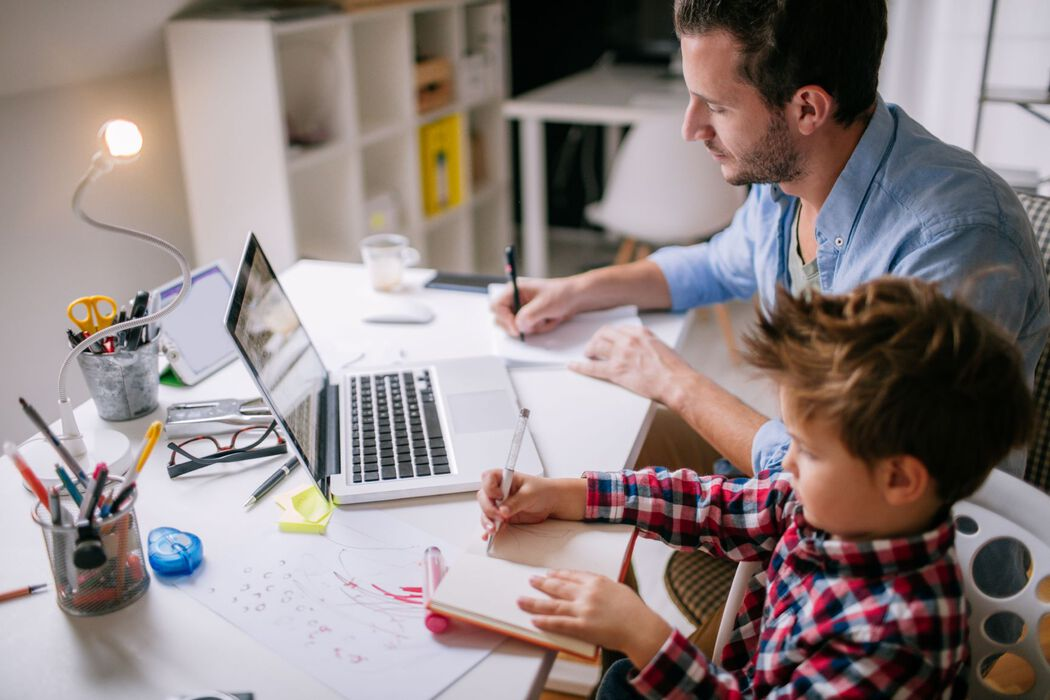 Working from home with kids - dad and son