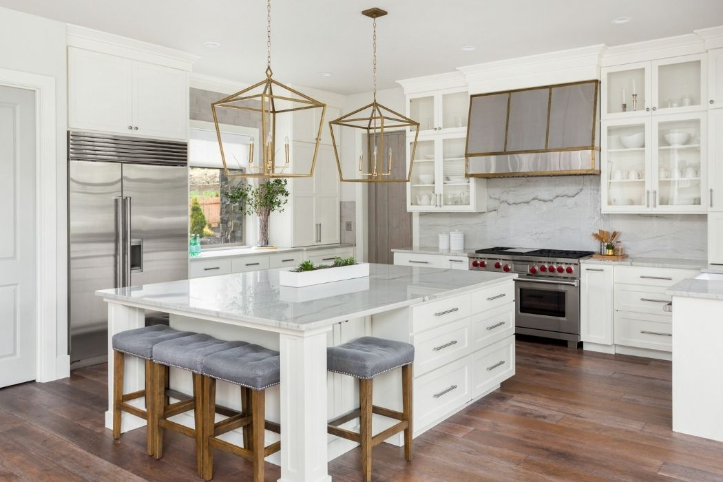 Nuetral-coloured kitchen with a decluttered countertop