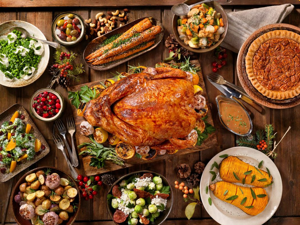 Holiday feast with turkey