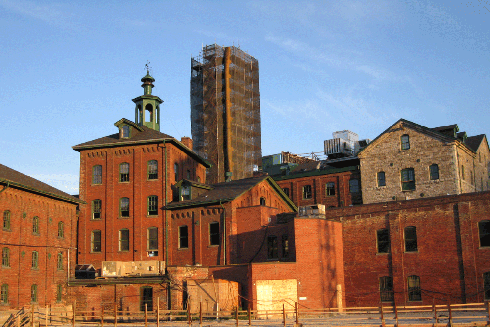 Old-fashioned factory buildings in Toronto's Distillery District