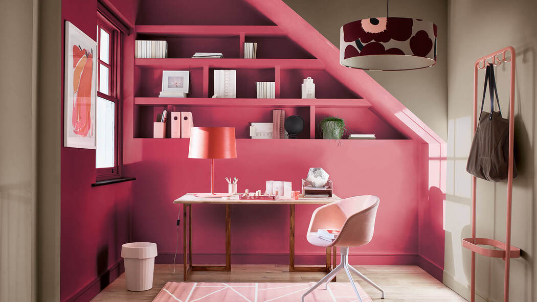 Home office area painted in glamorous pink, within a room painted in Dulux's Colour of the Year,