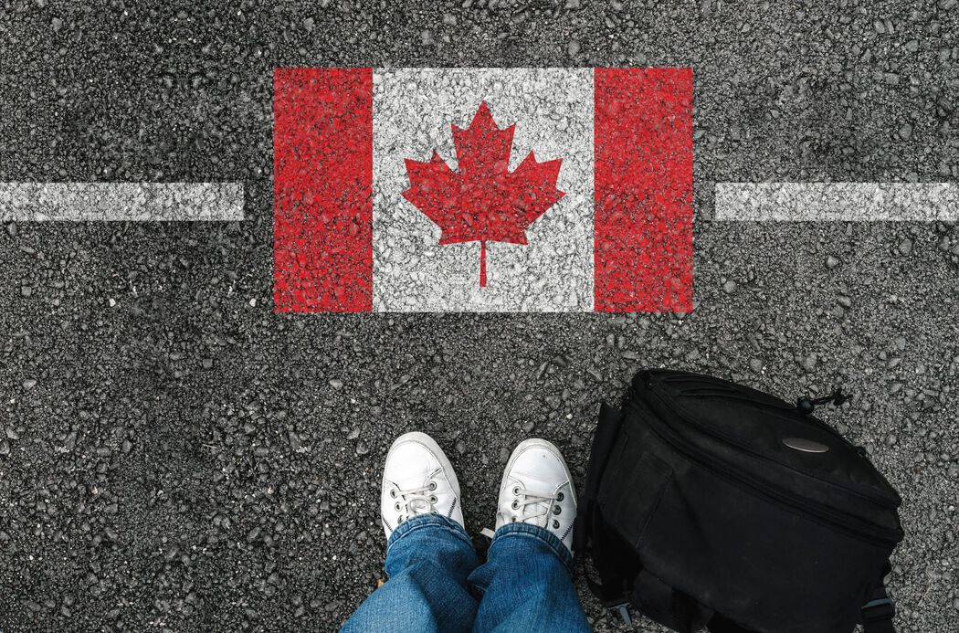 Immigration backpack with Canadian flag