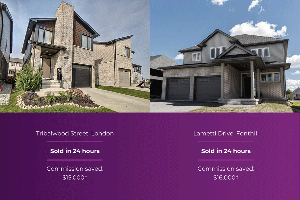 London home, sold in 24 hours, saved $15,000 in commission. Fonthill home, sold in 24 hours, saved $16,000 in commission.