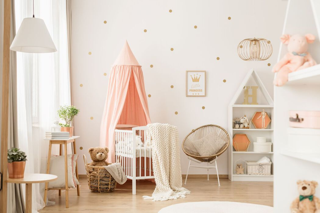 Baby girl nursery in white, pink, gold
