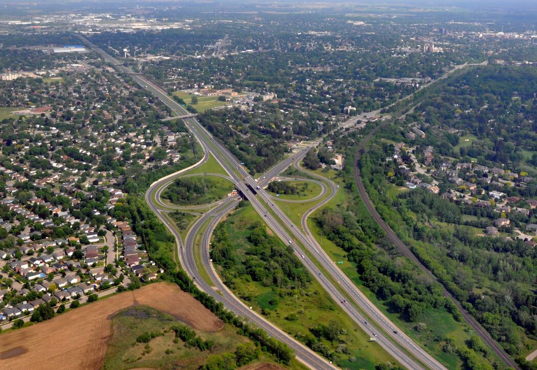 Aerial view of the city of Brantford featuring the suburbs and highway