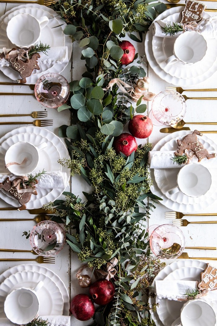 Christmas tablescape with foliage and pomegranates