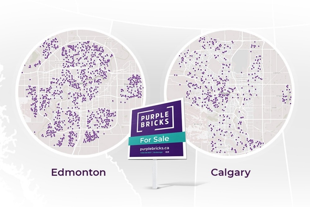 map of Alberta with callouts featuring Edmonton and Calgary, with purple 'pins' indicating real estate listings