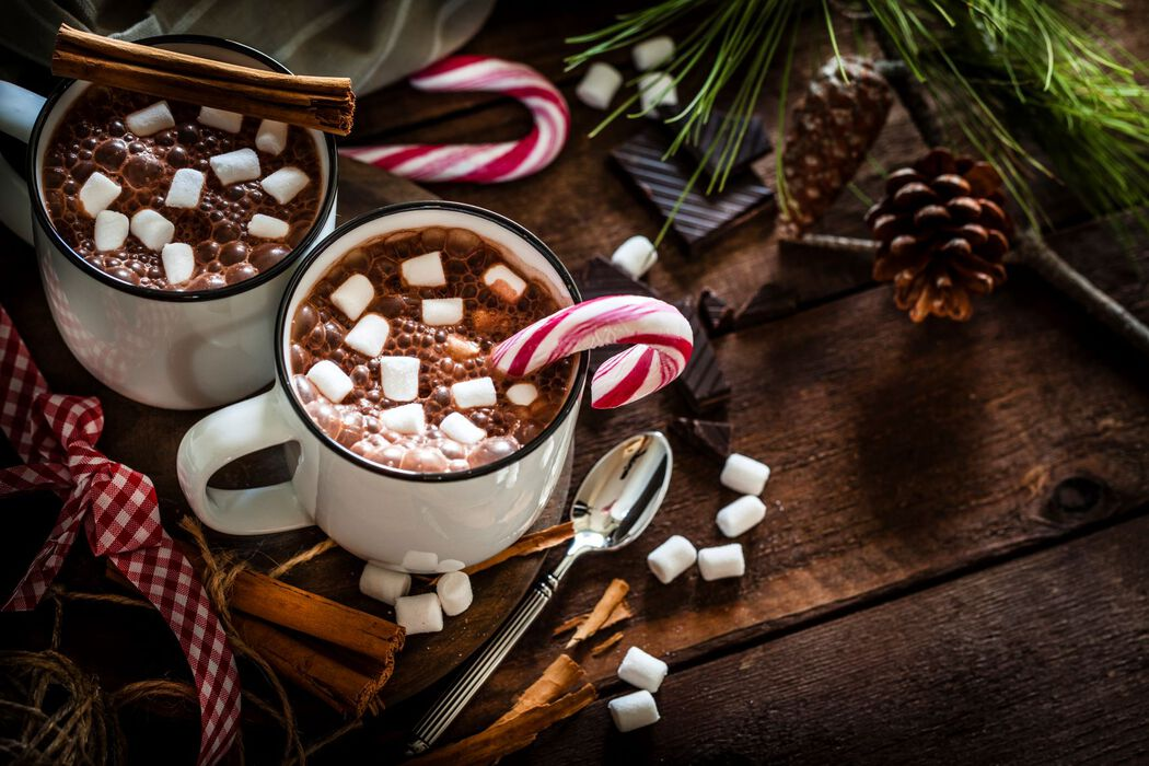 Christmas hot chocolate with candy canes