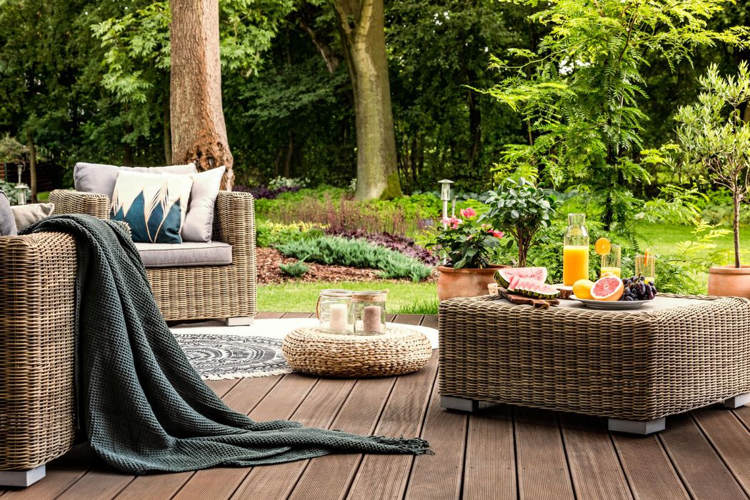 Staged backyard with decor